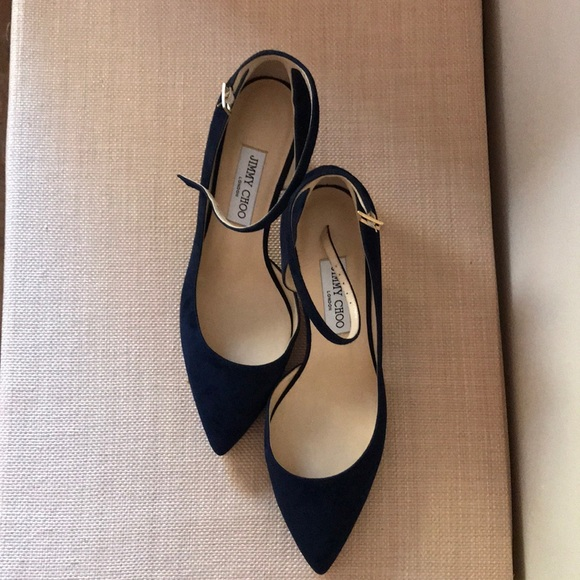 """31f674fa26a1 Jimmy Choo """"Lucy"""" Navy Suede Ankle Strap"""